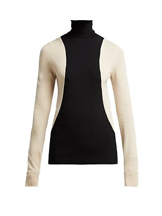 Helmut Lang Colour Block Wool Blend Roll Neck Sweater - Womens - Black Multi