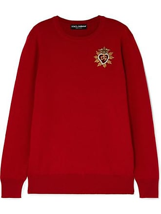Dolce & Gabbana Embellished Cashmere Sweater - Red