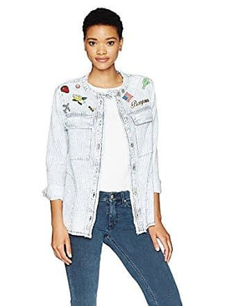 William Rast Womens Willliam Rast-Knotto Shirt Jacket with Patches, Cooper Wash, L
