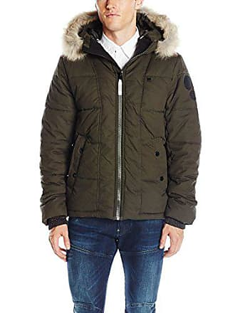 G-Star Mens Whistler Hooded Faux Fur Jacket, Asfalt, Small