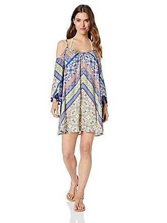 0594129a664b7 Nanette Lepore Womens Off Shoulder Bell Sleeve Beach Cover Up Tunic,  Blue//Scarf