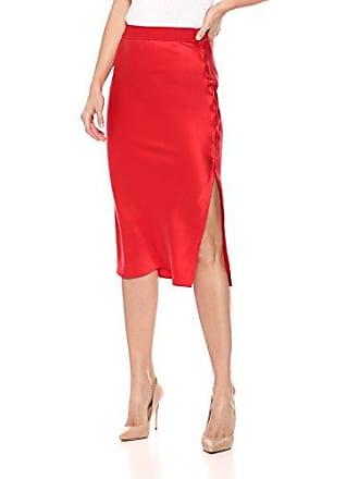 Theory Womens Pull ON MIDI Slip Skirt, Fiery red, L