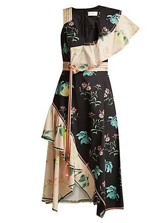 Peter Pilotto One Shoulder Floral Print Cotton Dress - Womens - Multi