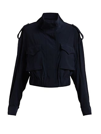 Norma Kamali Cargo Pocket Stretch Jersey Jacket - Womens - Navy