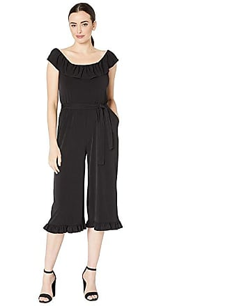f153ed7a5c54 Michael Kors Solid Ruffle Neck Jumpsuit (Black) Womens Jumpsuit   Rompers  One Piece