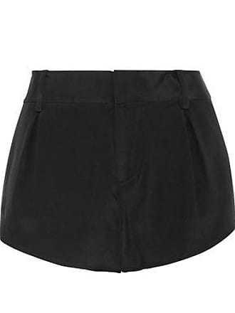 Alice & Olivia Alice + Olivia Woman Butterfly Pleated Silk-satin Shorts Black Size 10