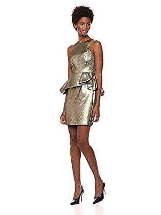 Halston Heritage Womens Sleeveless High Neck Jacquard Peplum Dress, Gold 12
