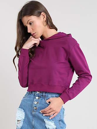 Basics Blusão Feminino Básico Cropped com Capuz em Moletom Roxo