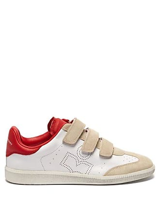 Isabel Marant Beth Leather And Suede Trainers - Womens - Red White