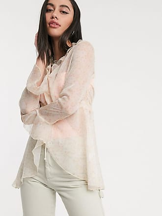 ZYA The Label floaty festival blouse in sheer floral with tie front-White