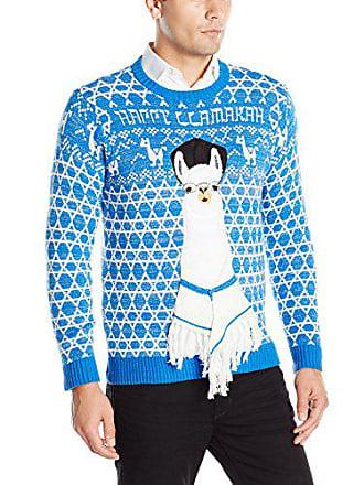 Blizzard Bay Mens Happy Llamukah Ugly Christmas Sweater, Blue/White, XX-Large
