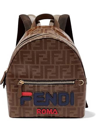 f51a7444c0f9 Fendi Leather-trimmed Printed Coated-canvas Backpack - Brown