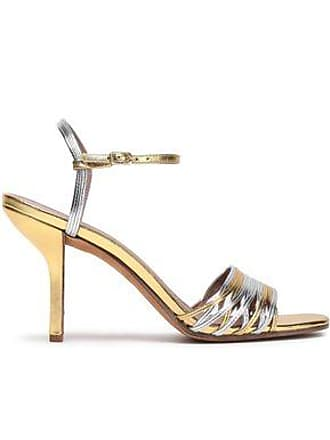 Diane Von Fürstenberg Diane Von Furstenberg Woman Federica Two-tone Metallic Leather Sandals Gold Size 5.5