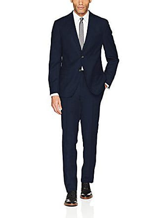 DKNY Mens Slim Fit Wool Suit, Dark Blue, 42 Short