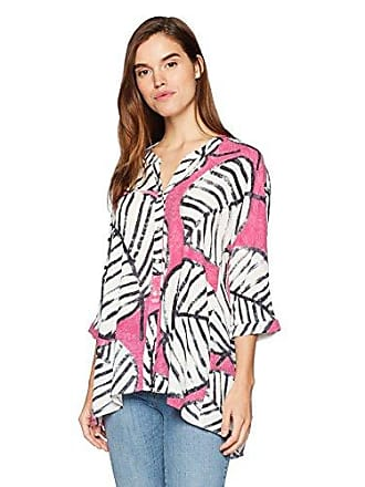 Nic+Zoe Womens Etched Leaves Top, Cactus Flower Small