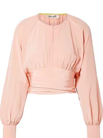 6c42df8a8a5e78 Diane Von Fürstenberg Gathered Cropped Silk Wrap Blouse - Pastel pink
