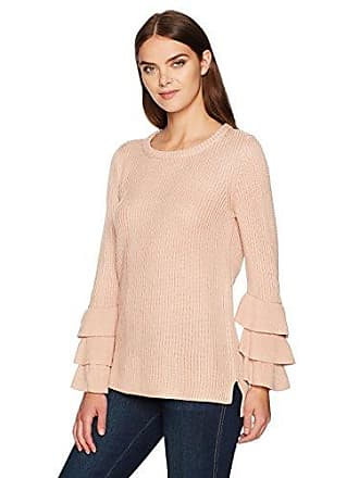 Calvin Klein Womens Crewneck with 3 Ruffle Sleeve, Blush, S