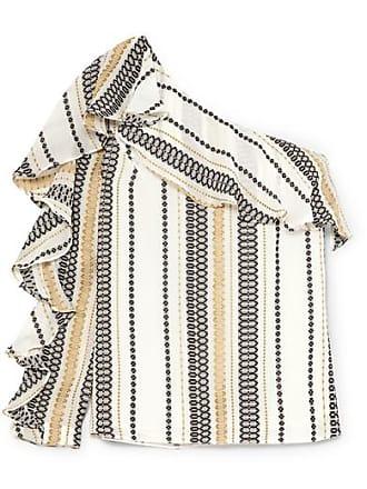 Zeus + Dione Artemis One-shoulder Striped Silk-blend Gauze Top - Ivory
