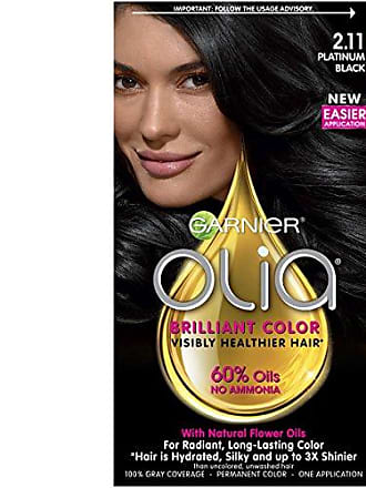 Garnier Olia Ammonia-Free Brilliant Color Oil-Rich Permanent Hair Color, 2.11 Platinum Black (1 Kit) Black Hair Dye (Packaging May Vary)
