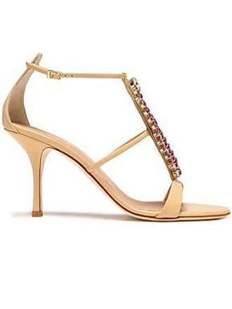 3ed86fc0ea3f Giuseppe Zanotti Giuseppe Zanotti Woman Crystal-embellished Suede Sandals  Beige Size 36