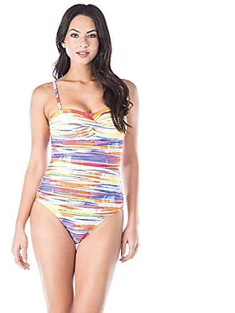 04875fd159 Chaps Womens Rouched Front Bandeau One Piece Swimsuit, Multi/Summer tie  dye, 6