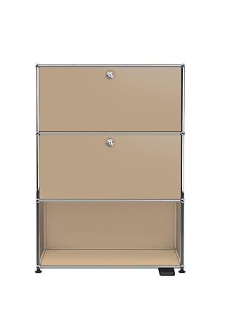 USM Haller E Regal mit Licht und USB-Charger - USM beige/LxBxH 77x37x109cm/mit 2 Klapptüren