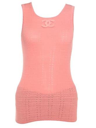 ca703a544616b Chanel Peach Perforated Rib Knit Logo Applique Detail Sleeveless Tank Top  M. In high demand