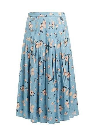 Rebecca Taylor Daniella Floral Print Silk Blend Midi Skirt - Womens - Blue Multi