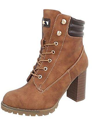 Ital-Design Schnürstiefeletten Damen-Schuhe Schnürstiefeletten Pump High  Heels Reißverschluss Stiefeletten Camel, ... 05d64b6c1e