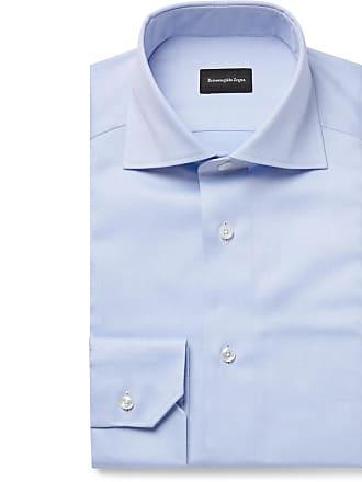 afa00144f40c Ermenegildo Zegna Light-blue Slim-fit Cutaway-collar Cotton Oxford Shirt -  Light