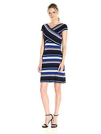 c080f38a6 Ivanka Trump Womens Stripe Knit Dress, sea Blue/Ivory/Heather tin/Navy