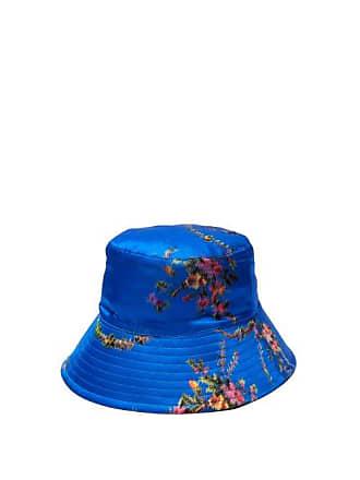 f399a288d73d92 Preen Holly Floral Print Silk Hat - Womens - Blue