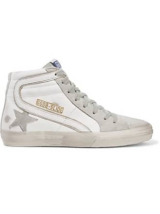 Golden Goose Slide Distressed Leather And Suede High-top Sneakers - White