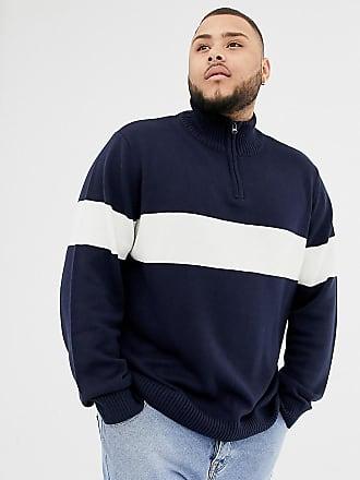 Another Influence PLUS Chest Stripe Half Zip Sweater - Navy