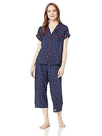b48048233 Tommy Hilfiger Womens Rayon Girlfriend Notch Collar Pajama Set Pj, Peacoat  Cascade Logo Print,