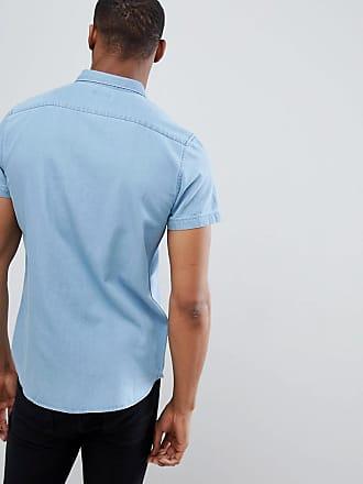 b77321dc319 New Look Regular Fit Short Sleeve Denim Shirt In Light Blue Wash - Blue