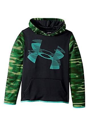 c3de2f2b8706 Under Armour AF Highlight Sleeve Hoodie (Big Kids) (Black Green Malachite)