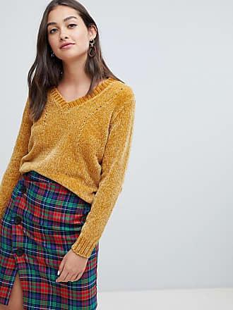 Jacqueline de Yong v neck chenille sweater - Gold