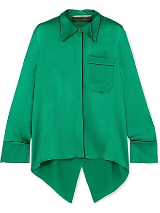 Roland Mouret Algar Open-back Hammered-silk Blouse - Emerald