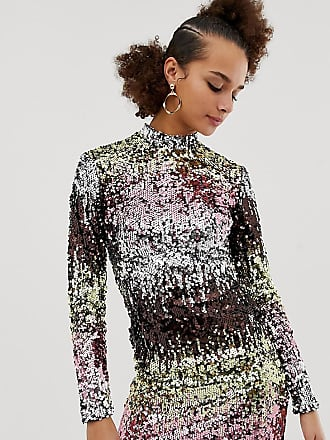 New Look long sleeve bodycon dress in multicoloured sequin - Multi