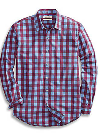 Goodthreads Mens Standard-Fit Long-Sleeve Gingham Plaid Poplin Shirt, Blue/Burgundy, Medium