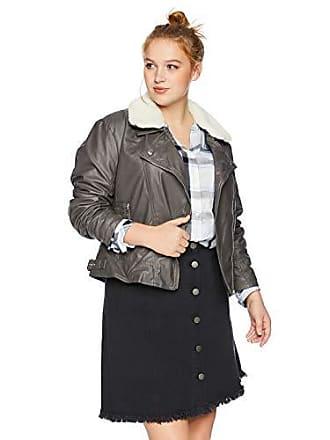 Yoki Womens Plus Size Faux Leather Moto Jacket with Shepra Collar, Charcoal 3X
