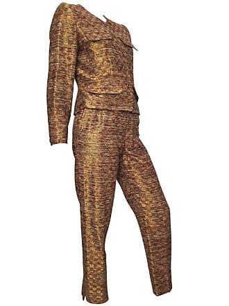 ffff7e322534 Saint Laurent Rive Gauche 1980s Metallic Silk Jacket   Pant Suit Size 4