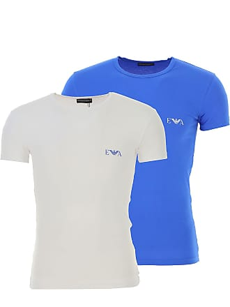 Emporio Armani T-Shirt for Men On Sale, 2 Pack, Bluette, Cotton, 2017, M (EU 48) XL (EU 52)