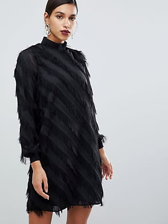 Y.A.S fringe stripe high neck mini dress in black - Black