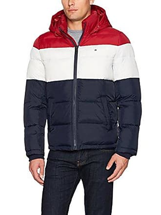 70583008 Tommy Hilfiger Mens Classic Hooded Puffer Jacket, red/White/Midnight, Large