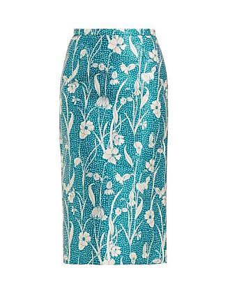 Rochas Floral Print Duchess Satin Pencil Skirt - Womens - Blue Multi