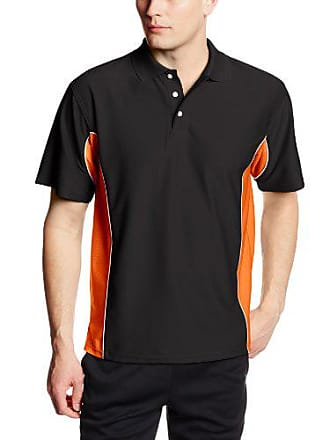 Soffe Mens Texture Polo Shirt Black/Orange Medium