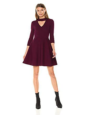 Milly Womens Cut Out Collar Flare Dress, Burgundy, L
