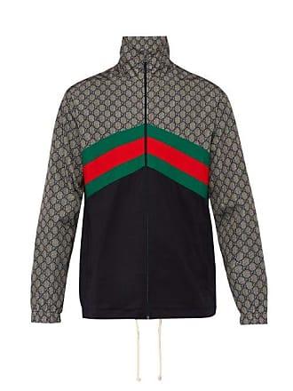 d82e878cb16a6 Gucci Gg Supreme Web Stripe Track Jacket - Mens - Grey